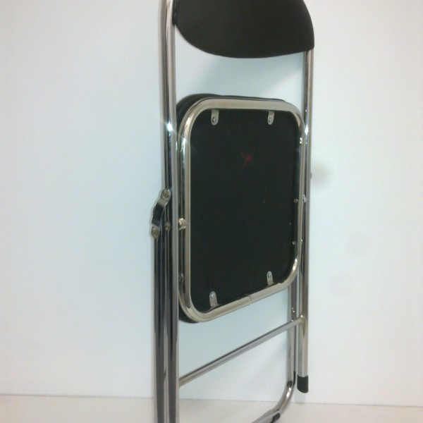 Chrome Framed Black Padded Folding Chair
